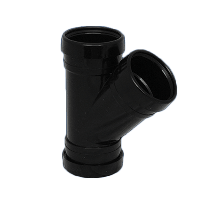 Picture of a 110mm push fit soil triple socket y 45 degree junction branch in black