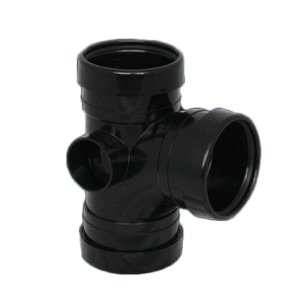 Picture of a 110mm push fit soil triple socket t 90 degree junction branch in black