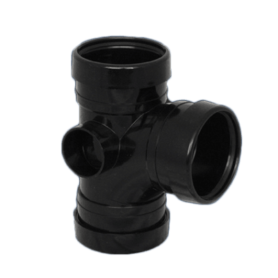 Picture of a 110mm push fit triple socket t 90 degree junction branch in black