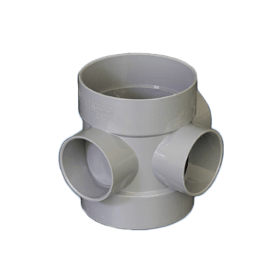 Picture of a 110mm push fit soil short boss pipe in grey