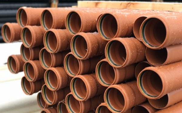 picture of underground sewer pipes in a stillage